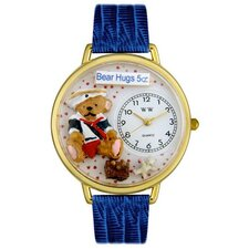 Unisex Teddy Bear Hugs Royal Blue Leather and Goldtone Watch in Gold