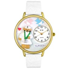 Unisex Nurse Teddy Bear White Leather and Goldtone Watch in Gold