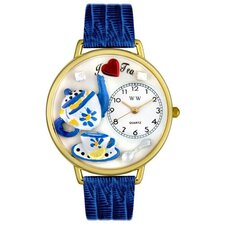 Unisex Tea Lover Royal Blue Leather and Goldtone Watch in Gold