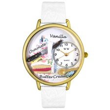 Unisex Pastries White Leather and Goldtone Watch in Gold