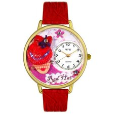 Unisex Red Hat Madam Red Leather and Goldtone Watch in Gold
