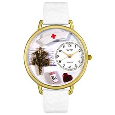 Unisex RN White Leather and Goldtone Watch in Gold