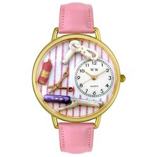 Unisex Beautician Female Pink Leather and Goldtone Watch in Gold