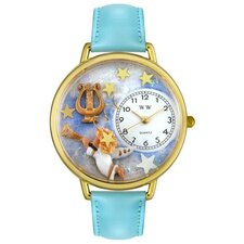 Unisex Angel with Harp Baby Blue Leather and Goldtone Watch in Gold