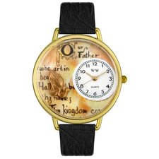 Unisex Lord's Prayer Black Skin Leather and Goldtone Watch in Gold