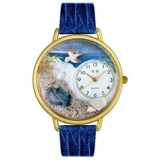 Unisex Footprints Royal Blue Leather and Goldtone Watch in Gold
