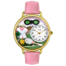 Unisex Tennis Female Pink Leather and Goldtone Watch in Gold
