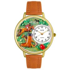<strong>Whimsical Watches</strong> Unisex Horse Competition Tan Leather and Goldtone Watch in Gold