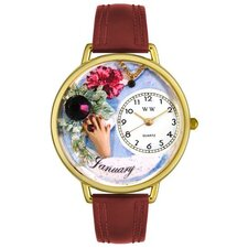 Unisex January Burgundy Leather and Goldtone Watch in Gold