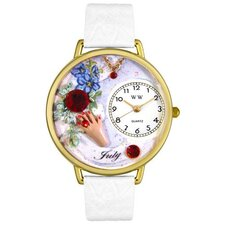 Unisex July White Leather and Goldtone Watch in Gold