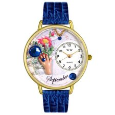 Unisex September Royal Blue Leather and Goldtone Watch in Gold