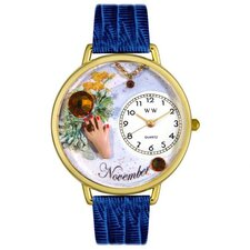Unisex November Royal Blue Leather and Goldtone Watch in Gold