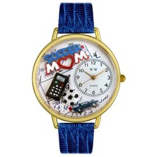 Unisex Soccer Mom Royal Blue Leather and Goldtone Watch in Gold