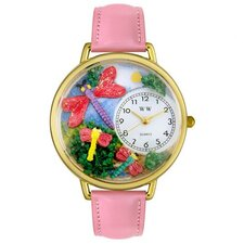 <strong>Whimsical Watches</strong> Unisex Dragonflies Pink Leather and Goldtone Watch in Gold