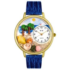 Unisex Palm Tree Royal Blue Leather and Goldtone Watch in Gold