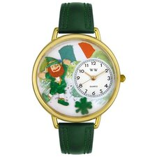 Unisex St. Patrick's Day w/Irish Flag Hunter Green Leather and Goldtone Watch in Gold