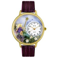 Unisex Fairy Purple Leather and Goldtone Watch in Gold