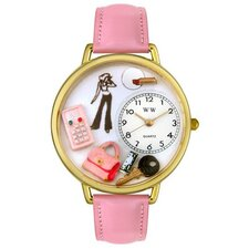 Unisex Teen Girl Pink Leather and Goldtone Watch in Gold