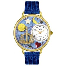 <strong>Whimsical Watches</strong> Unisex Libra Royal Blue Leather and Goldtone Watch in Gold