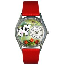 <strong>Whimsical Watches</strong> Women's Cow Black Leather and Silvertone Watch in Silver