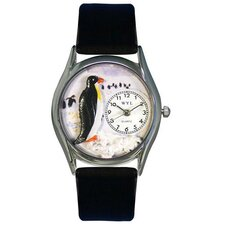 Women's Penguin Black Leather and Silvertone Watch in Silver