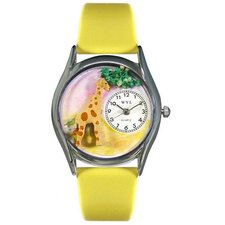 Women's Giraffe Yellow Leather and Silvertone Watch in Silver