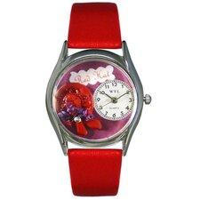 "Women""s Red Hat Red Leather and Silvertone Watch in Silver"