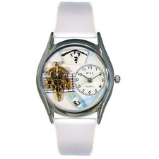 "<strong>Whimsical Watches</strong> Women""s RN White Leather and Silvertone Watch in Silver"