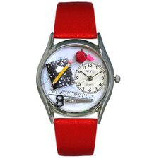 "<strong>Whimsical Watches</strong> Women""s Teacher Red Leather and Silvertone Watch in Silver"