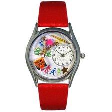 """Women""""s Preschool Teacher Red Leather and Silvertone Watch in Silver"""