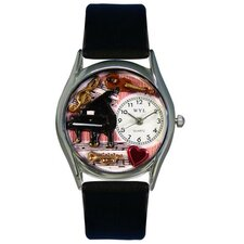 "<strong>Whimsical Watches</strong> Women""s Music Teacher Women""s Black Leather and Silvertone Watch in Silver"