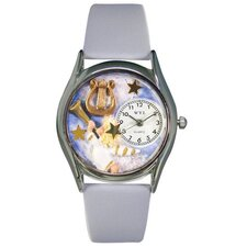 "Women""s Angel with Harp Baby Blue Leather and Silvertone Watch in Silver"