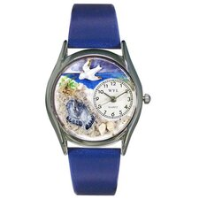 Women's Footprints Royal Blue Leather and Silvertone Watch in Silver