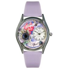 <strong>Whimsical Watches</strong> Women's April Red Leather and Silvertone Watch in Silver