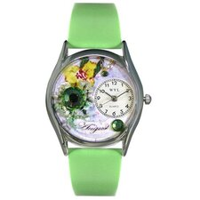 <strong>Whimsical Watches</strong> Women's August Green Leather and Silvertone Watch in Silver