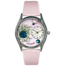 <strong>Whimsical Watches</strong> Women's December Pink Leather and Silvertone Watch in Silver