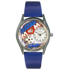 Women's Soccer Mom Royal Blue Leather and Silvertone Watch in Silver