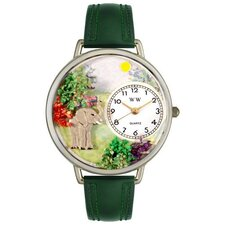 Unisex Elephant Hunter Green Leather and Silvertone Watch in Silver