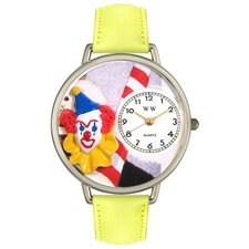 Unisex Clown Face Yellow Leather and Silvertone Watch in Silver