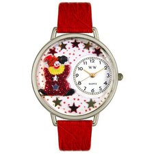 Unisex Red Star Clown Red Leather and Silvertone Watch in Silver