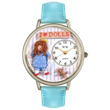 Unisex Doll Lover Baby Blue Leather and Silvertone Watch in Silver