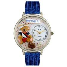Unisex Teddy Bear Hugs Royal Blue Leather and Silvertone Watch in Silver