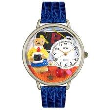 Unisex Teacher Teddy Bear Royal Blue Leather and Silvertone Watch in Silver