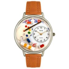 Unisex Artist Red Leather and Silvertone Watch in Silver