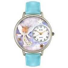 Unisex Angel Baby Blue Leather and Silvertone Watch in Silver