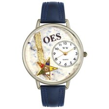 Unisex Order of the Eastern Star Navy Blue Leather and Silvertone Watch in Silver