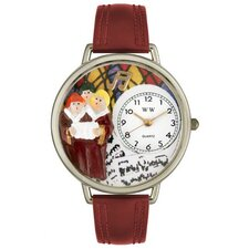 Unisex Choir Burgundy Leather and Silvertone Watch in Silver