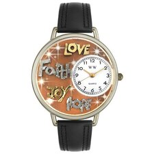 Unisex Faith Hope Love Joy Watch in Silver