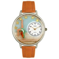 Unisex Gymnastics Tan Leather and Silvertone Watch in Silver