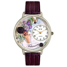 Unisex February Purple Leather and Silvertone Watch in Silver